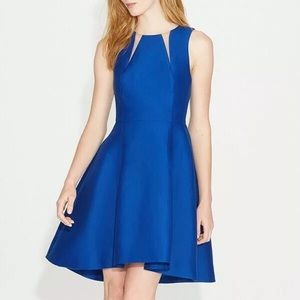 HALSTON Heritage Blue Silk Faille Dress